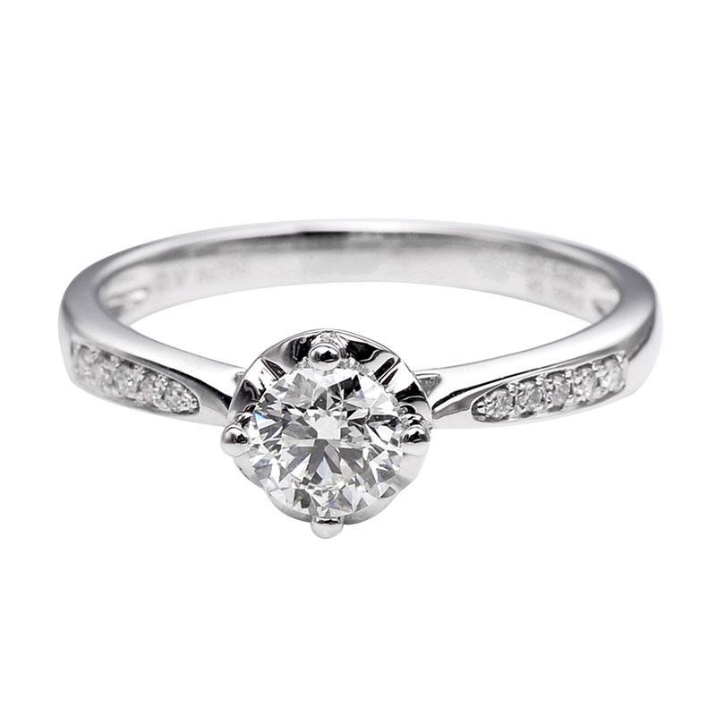 Tiaria DHTXDFJ004 Cincin Berlian emas putih [18K]