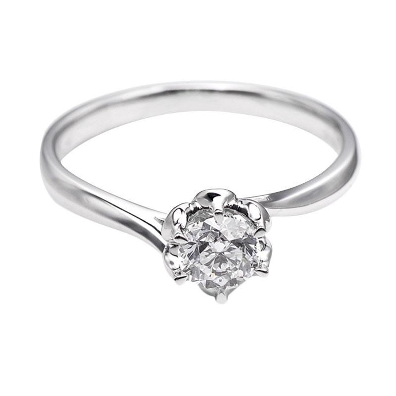 Tiaria DHTXDFJ014 Cincin Berlian emas putih [18K]