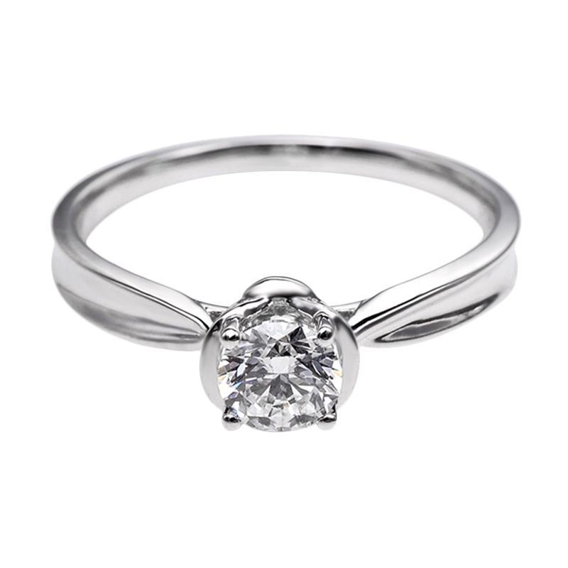 Tiaria DHTXDFJ021 Perhiasan Cincin Emas Putih dan Berlian White Gold [18K]