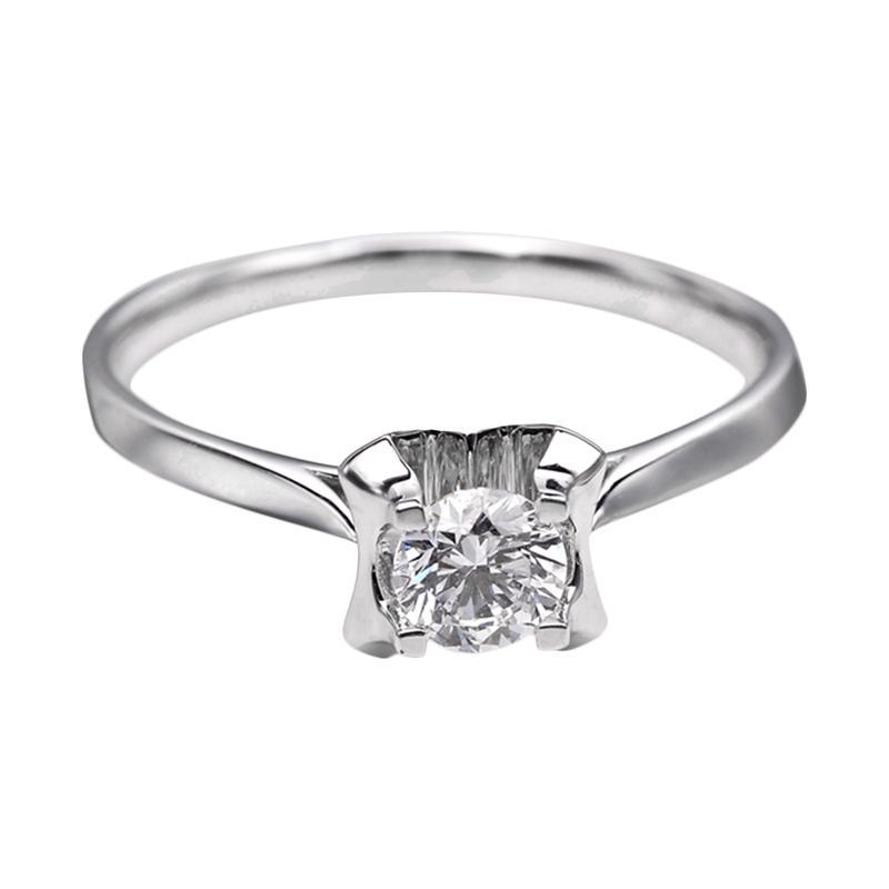 Tiaria DHTXDFJ030 Perhiasan Cincin Emas Putih dan Berlian White Gold [18K]