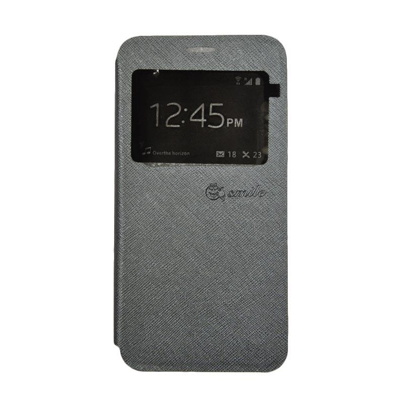 SMILE Standing Flip Cover Casing for Samsung Galaxy J2 Prime - Grey