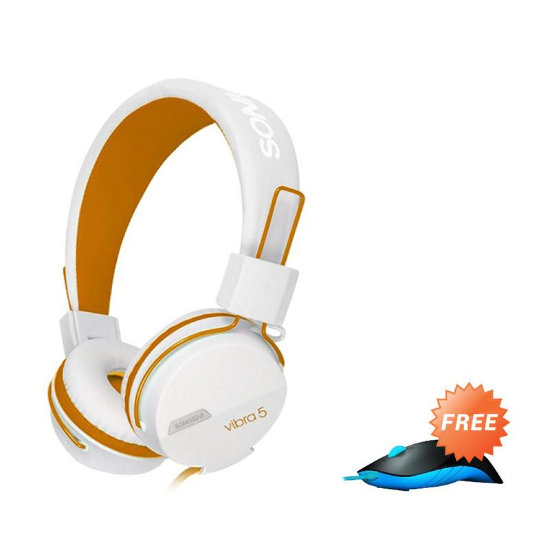 Sonicgear Vibra 5 Gaming Headset - White Orange + Gaming Mouse Shark
