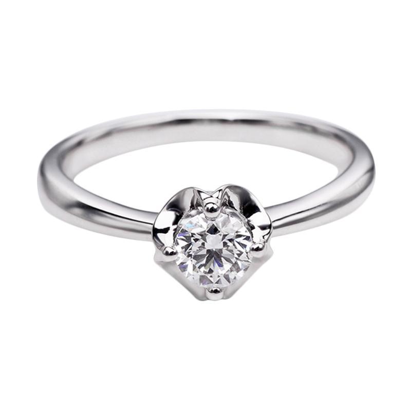 Tiaria DHTXDFJ023 Perhiasan Cincin Emas Putih dan Berlian White Gold [18K]