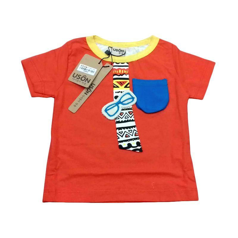 Chloe Babyshop F370 Tshirt Glasses Pocket Atasan Anak - Orange