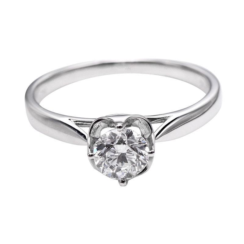 Tiaria DHTXDFJ007 Cincin Berlian emas putih [18K]