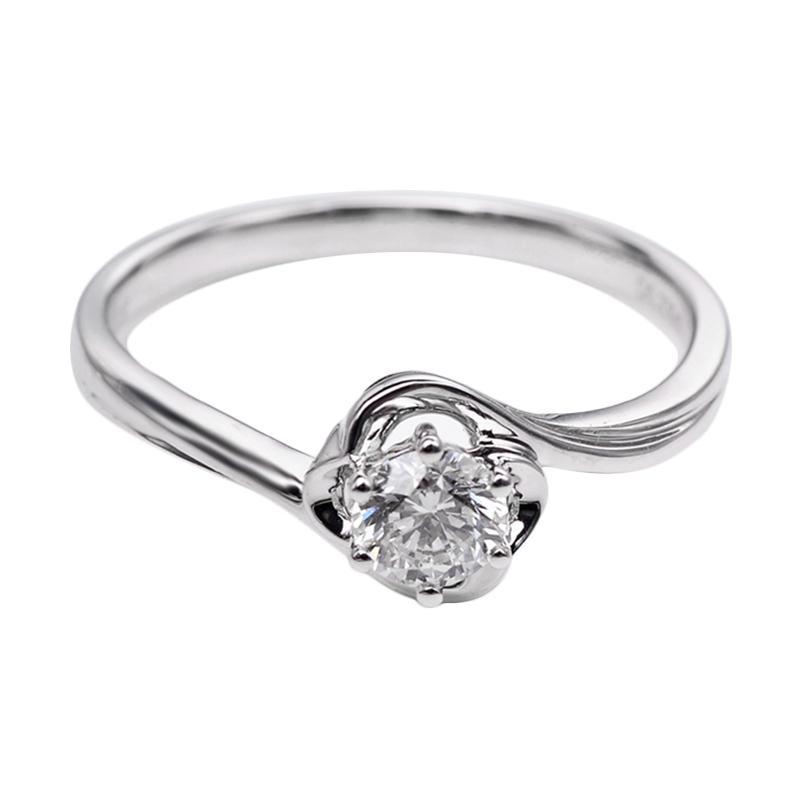 Tiaria DHTXDFJ024 Perhiasan Cincin Emas Putih dan Berlian White Gold [18K]