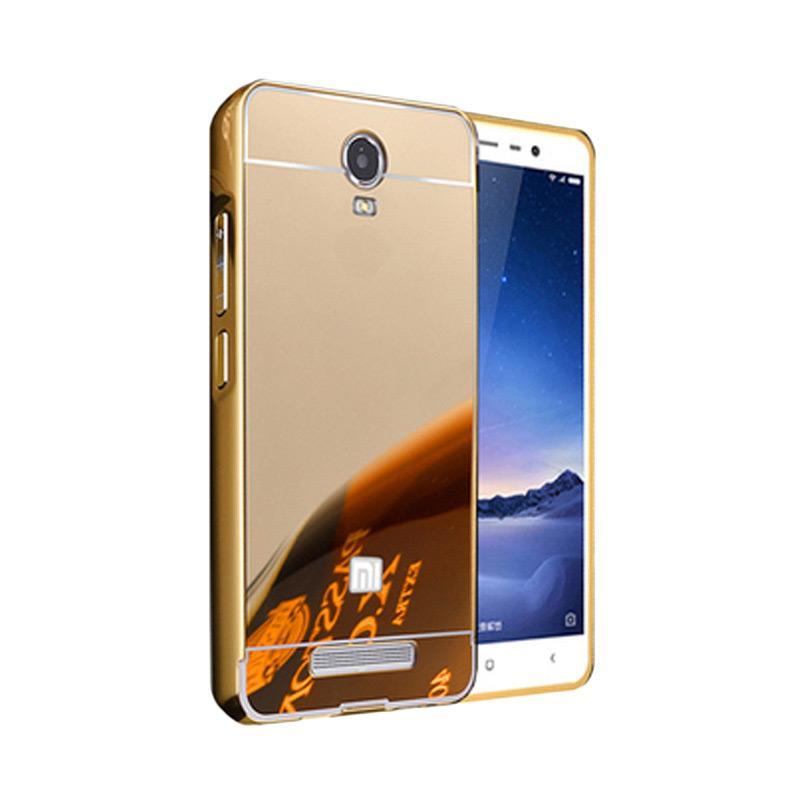 Bumper Case Mirror Sliding Casing for Xiaomi Redmi Note 2 - Gold
