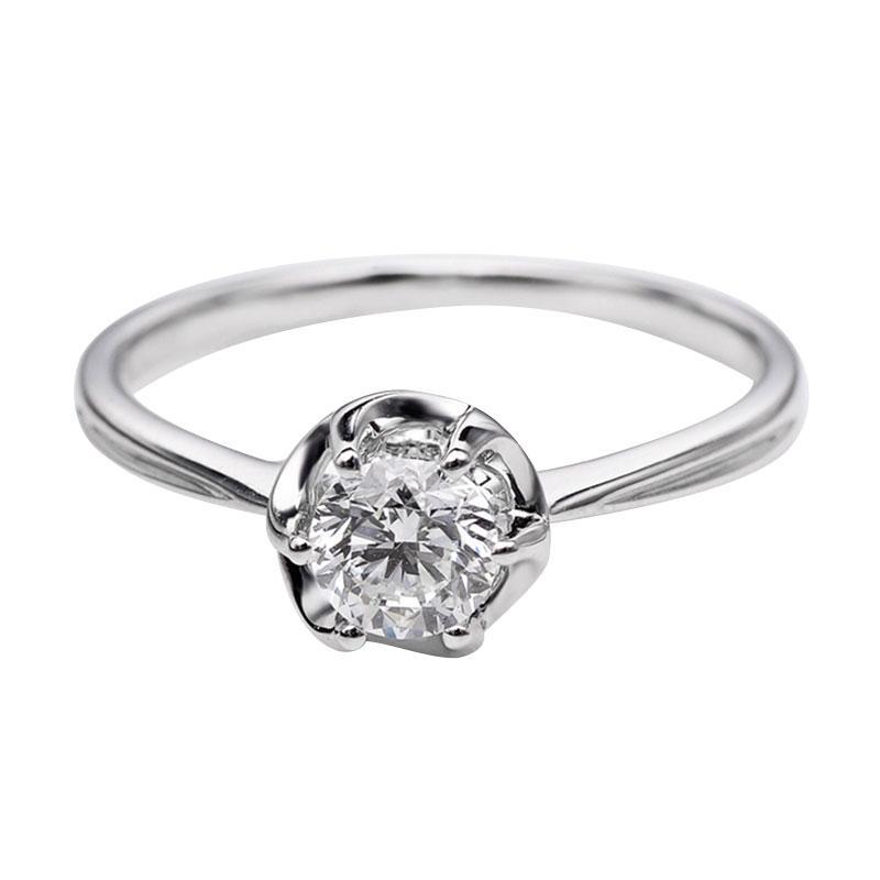 Tiaria DHTXDFJ008 Cincin Berlian emas putih [18K]