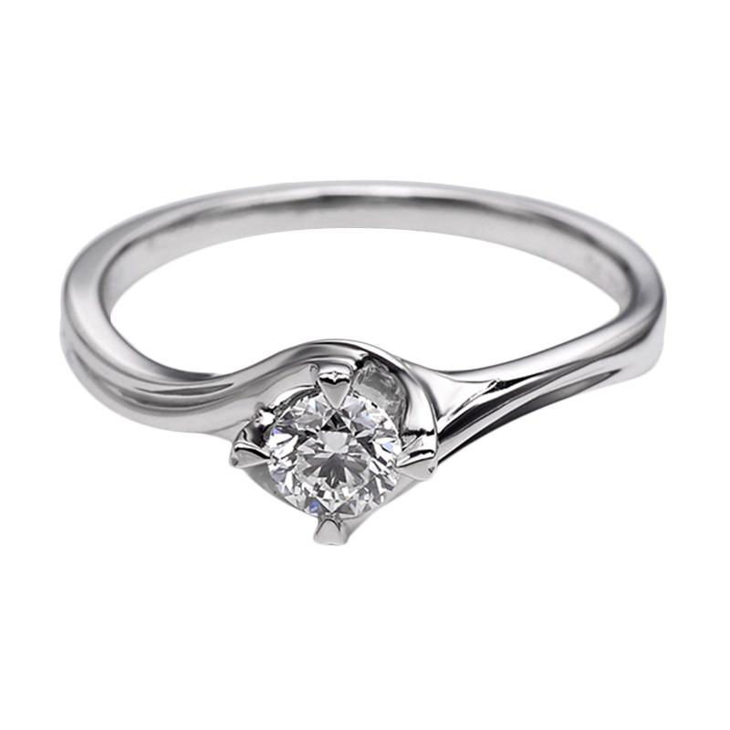 Tiaria DHTXDFJ025 Perhiasan Cincin Emas Putih dan Berlian White Gold [18K]