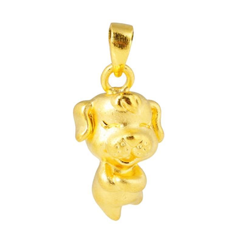 Tiaria Zodiac Dog Pendant Perhiasan Emas Kalung Liontin Emas Gold [24K]