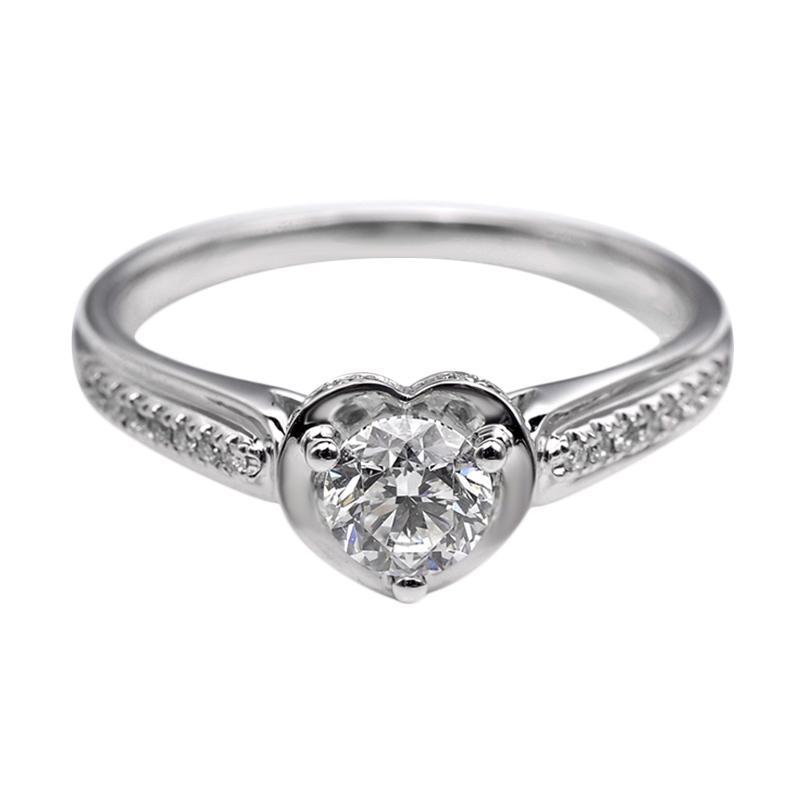 Tiaria DHTXDFJ017 Perhiasan Cincin Emas Putih dan Berlian White Gold [18K]