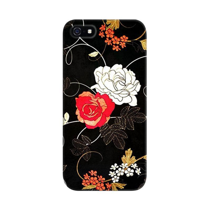 Indocustomcase Vintage Flowers Custom Hardcase Casing for iPhone 5/5S/SE