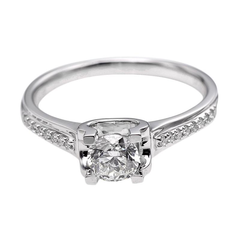 Tiaria DHTXDFJ018 Perhiasan Cincin Emas Putih dan Berlian White Gold [18K]