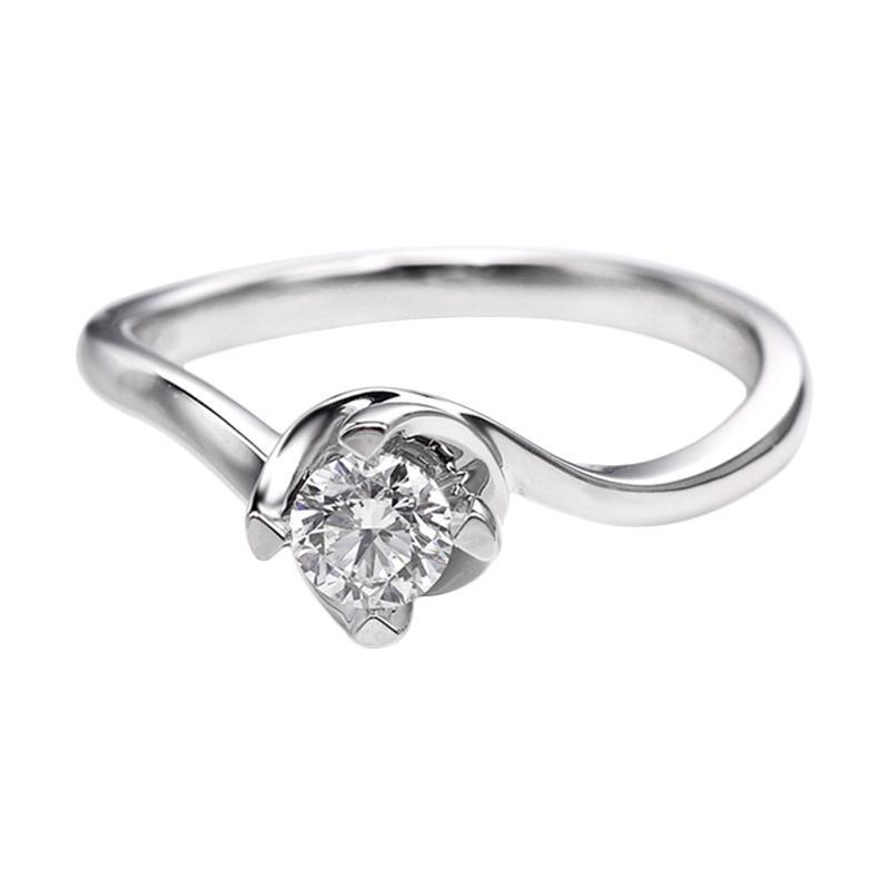 Tiaria DHTXDFJ027 Perhiasan Cincin Emas Putih dan Berlian White Gold [18K]