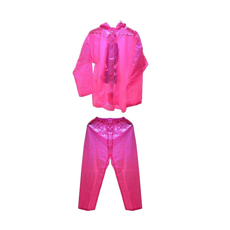 Raja Motor 003 Tanabe Suqua Transparan Polkadot Jas Hujan - Pink