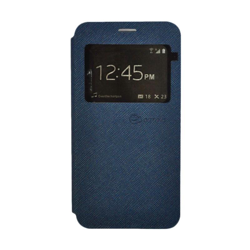 SMILE Standing Flip Cover Casing for Xiaomi Redmi 4 Prime - Navy Blue