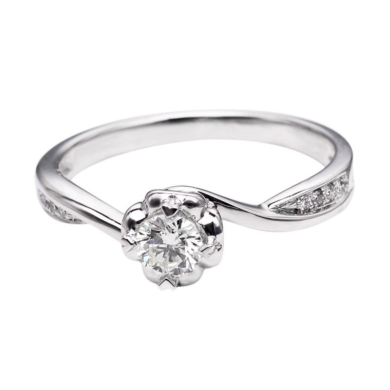 Tiaria DHTXDFJ045 Perhiasan Cincin Emas Putih dan Berlian White Gold [18K]