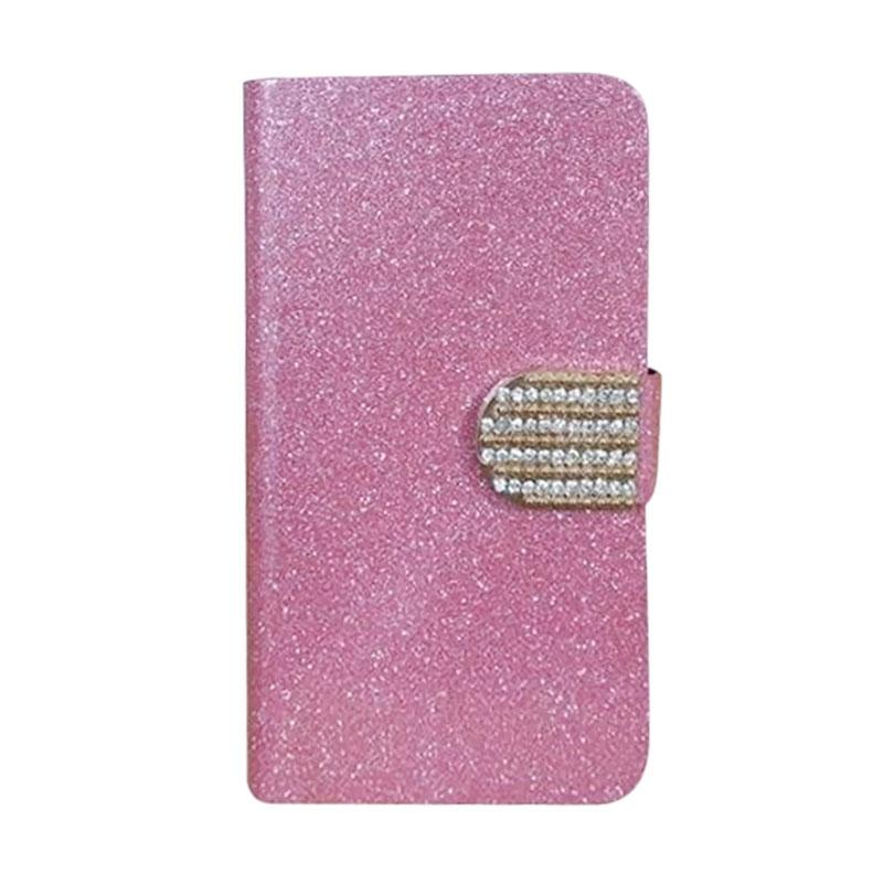 OEM Diamond Flip Cover Casing for Microsoft Nokia Lumia 640 XL - Merah Muda