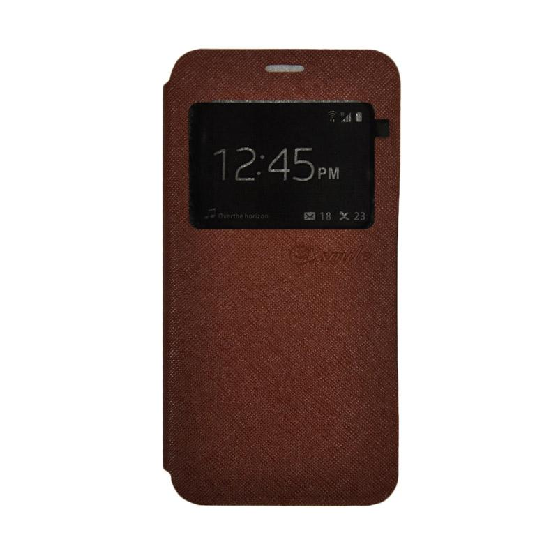 SMILE Leather Standing Flip Cover Casing for Xiaomi Redmi 4X - Brown