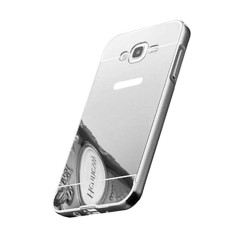 Bumper Case Mirror Sliding Casing for Samsung Galaxy Mega 5.8 Inch - Silver