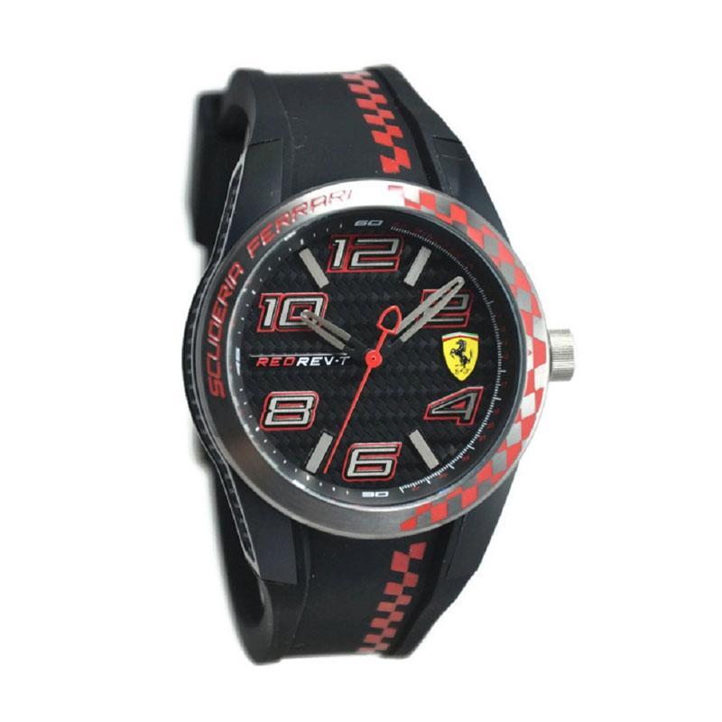 Ferrari 0830336 Jam Tangan Pria - Hitam Kombinasi Merah Ring Silver Merah