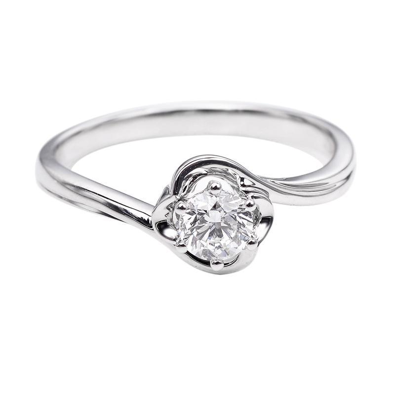 Tiaria DHTXDFJ048 Perhiasan Cincin Emas Putih dan Berlian White Gold [18K]