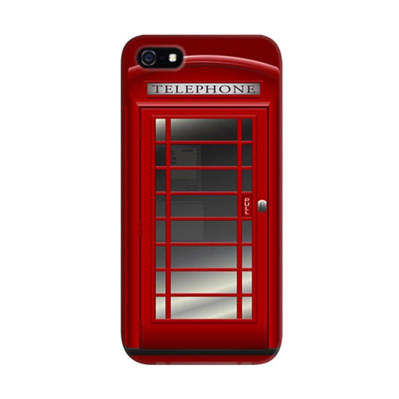 Indocustomcase Red Telephone Box 2 Custom Hardcase Casing for Apple iPhone 5/5S/SE