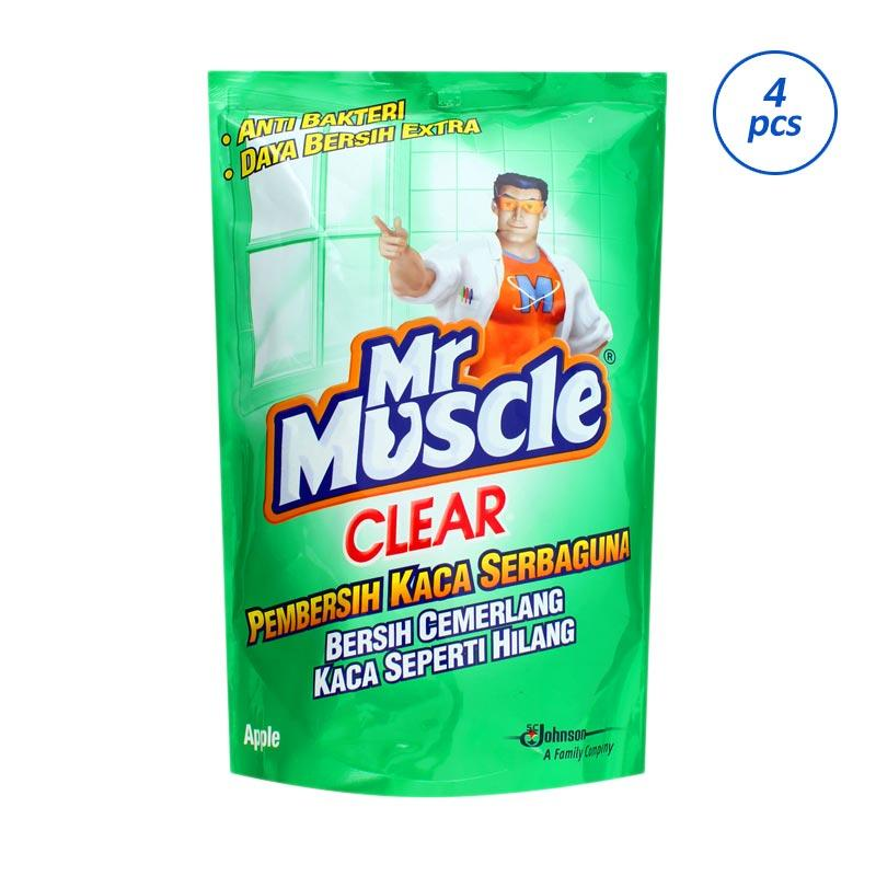 harga MR. MUSCLE Clear Glass Liquid Apple Pouch Pembersih Kaca [440 mL/4 Pcs] 320000000 Blibli.com