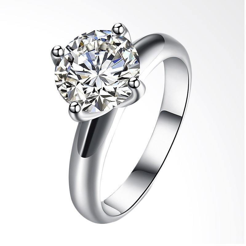 Tiaria LKN18KRGPR934-C Ring Aksesoris Cincin Emas Putih dan Zircon [9k]