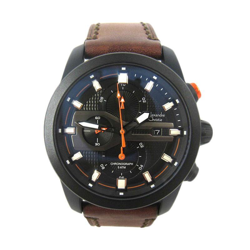 Alexandre Christie 6270 Leather Jam Tangan Pria - Black Brown