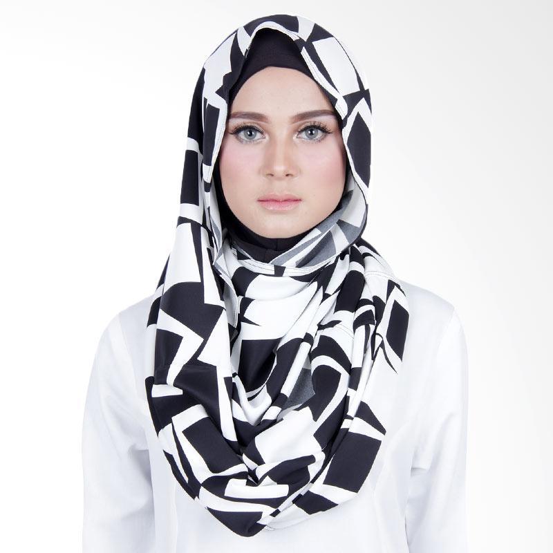 Cantik Kerudung Sheefa Loop Printed Jilbab Instant ��� Black