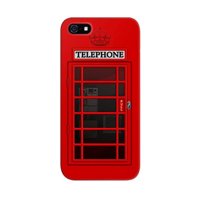 Indocustomcase Red Telephone Box 3 Custom Hardcase Casing for Apple iPhone 5/5S/SE