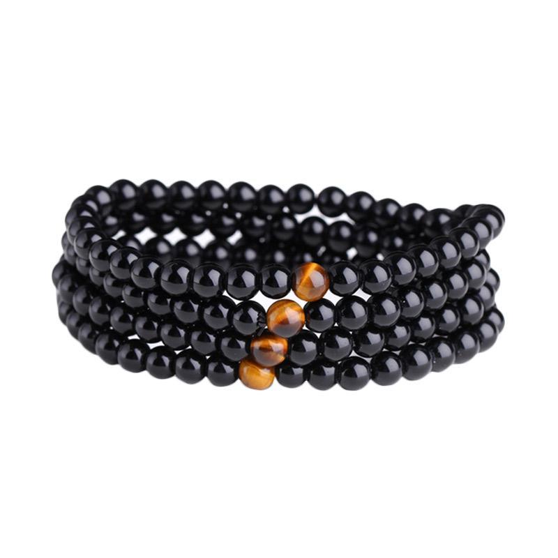 harga Bella & Kate Batu Akik Hitam Asli Natural Bead Bracelet Obsidian Tiger Agate Gelang Wanita Blibli.com
