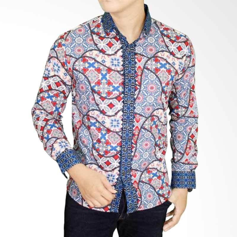 Gudang Fashion BAT 877 Batik Slim Pria Lengan Panjang Katun - Blue