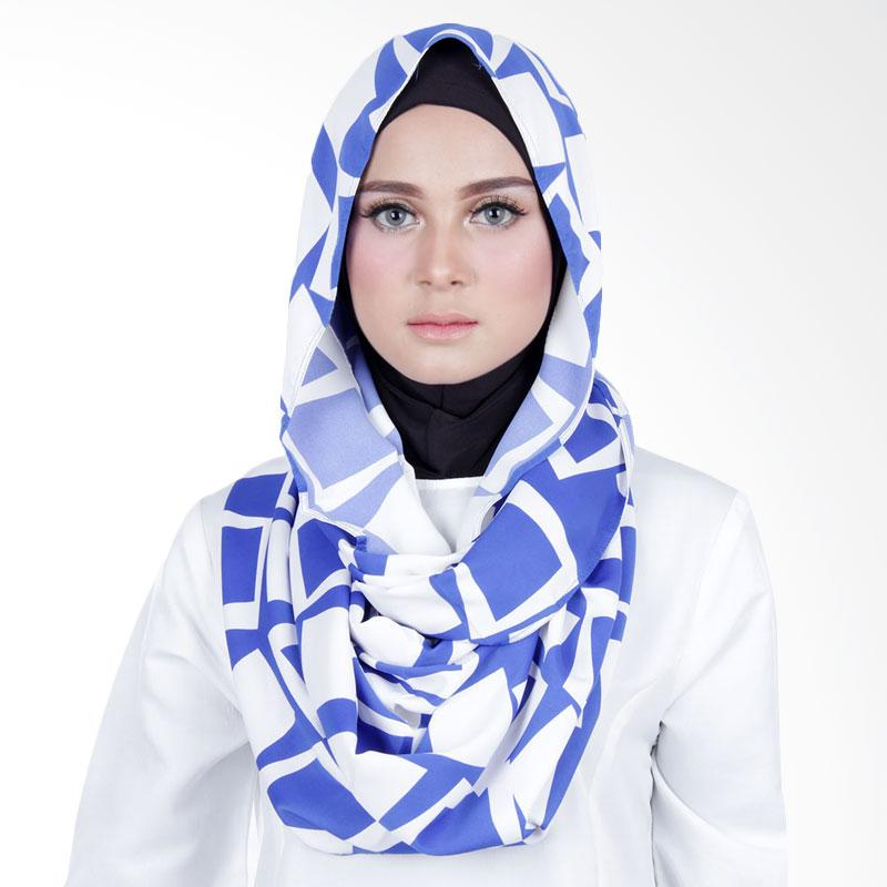Cantik Kerudung Sheefa Loop Printed Jilbab Instant ��� Blue