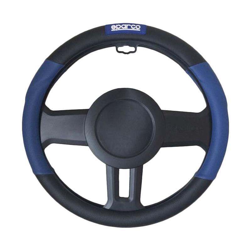 Sparco SPC1109AZJS Steering Wheel Cover Sarung Stir - Black Blue [370mm]