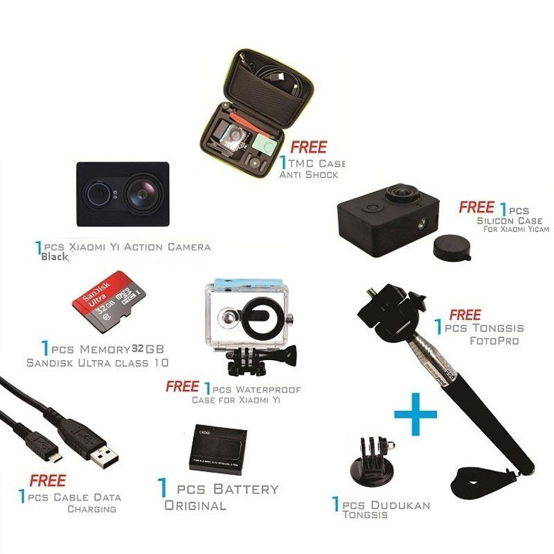 Kamera Xiaomi Yi International Action Kamera - Black [Paket Ekonomis]