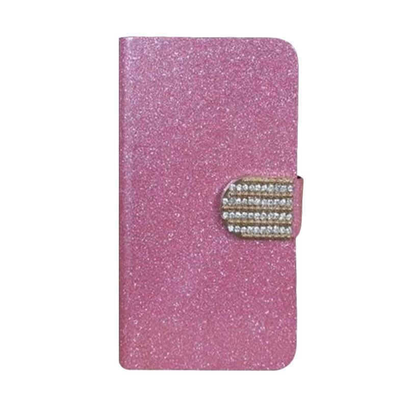 OEM Diamond Flip Cover Casing for Alcatel OneTouch Pixi 3 3.5 Inch - Merah Muda