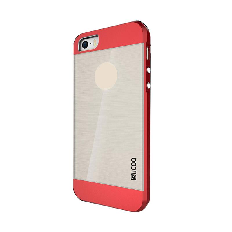 Slicoo Clear Back Side Cover Hardcase Casing for Apple Iphone 5 or 5S - Red