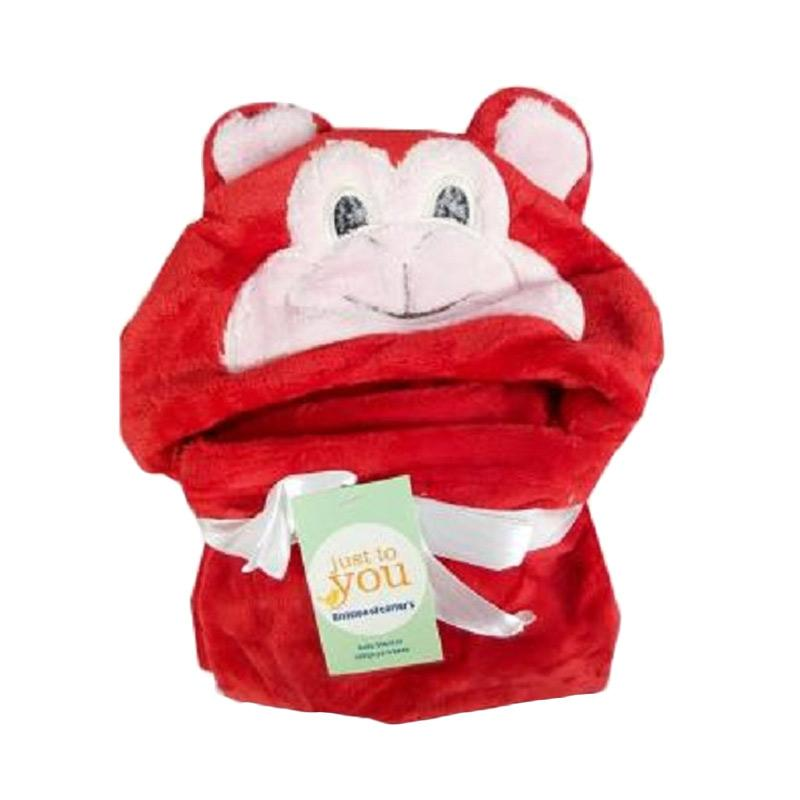 Chloebaby Shop s254b Monkey Fleece Selimut Topi Single - Merah