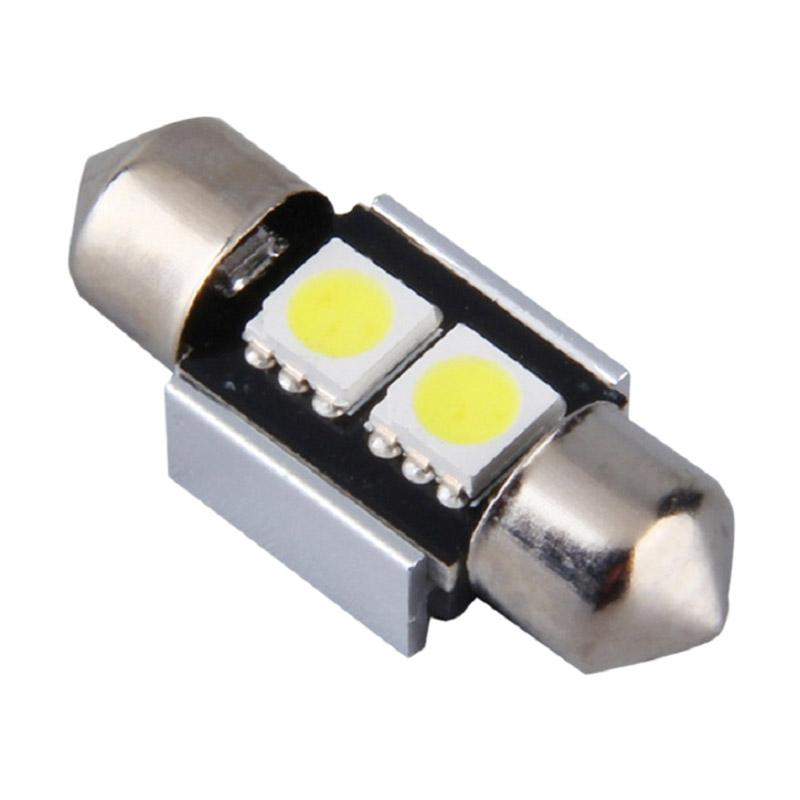 JMS Double Wedge Canbus 2 SMD 5050 Lampu LED Mobil Kabin/ Plafon/ Festoon - White [31 Mm]