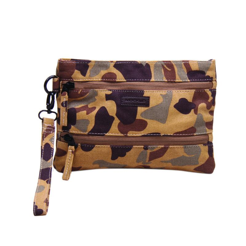 Mockup PWL.11 Wrislet Two Zipper Pouch Pria - Brown Dark Brown