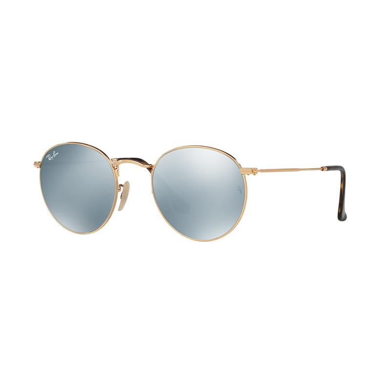 Ray-Ban RB3447N 001 30 Round Metal Shiny Gold Frame Sunglasses - Grey Flash [Size 50]