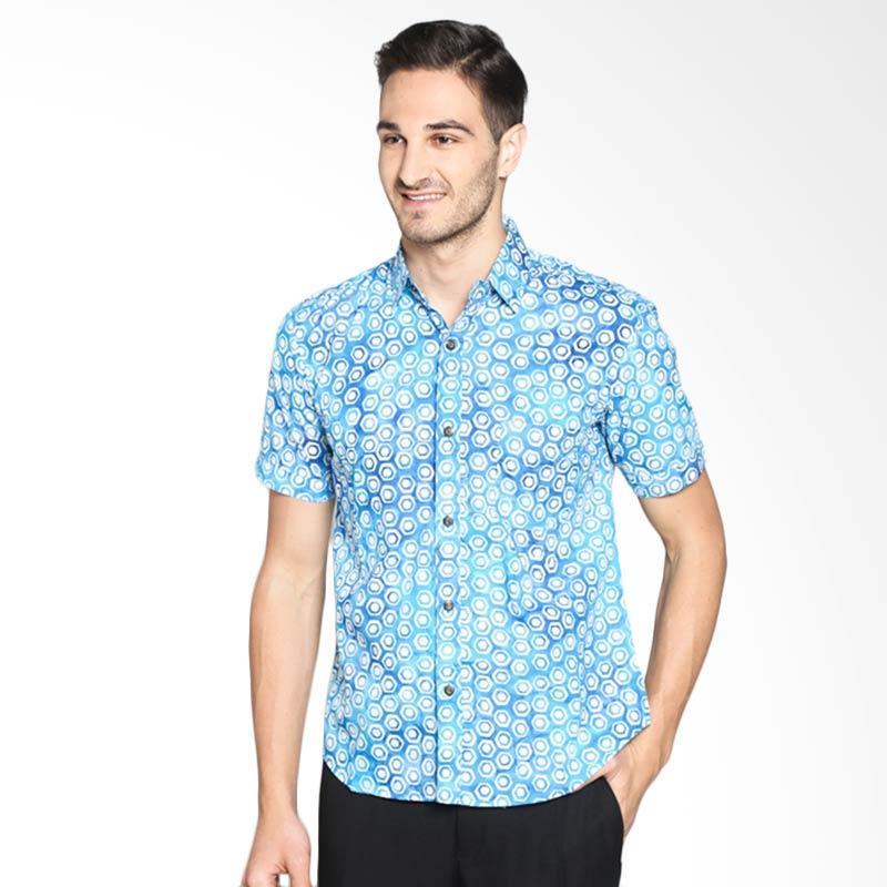 Batik Pria Tampan Honeycomb Slim PKMPD-01162093C Kemeja Pria - Blue