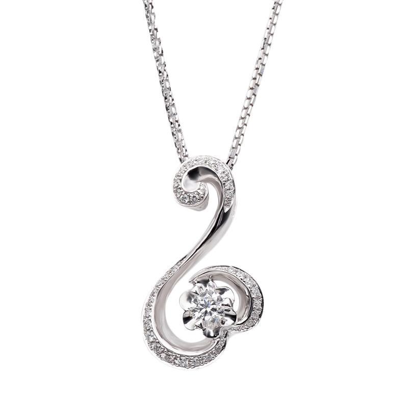 Tiaria DJXDZ010 Emas Putih & Berlian White Gold Perhiasan Liontin [18K]
