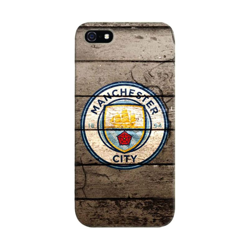 Indocustomcase Manchester City Logo On Wood Cover Casing for iPhone 5/5S/SE