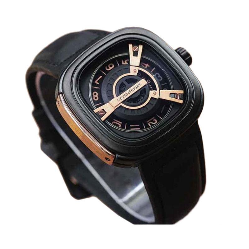 Sevenfriday Design Casual Leather Strap Jam Tangan Pria - Black