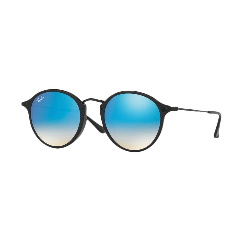 Ray-Ban RB2447F-901-4O Sunglasses - Shiny Black Mirror Gradient Blue [Size 49]