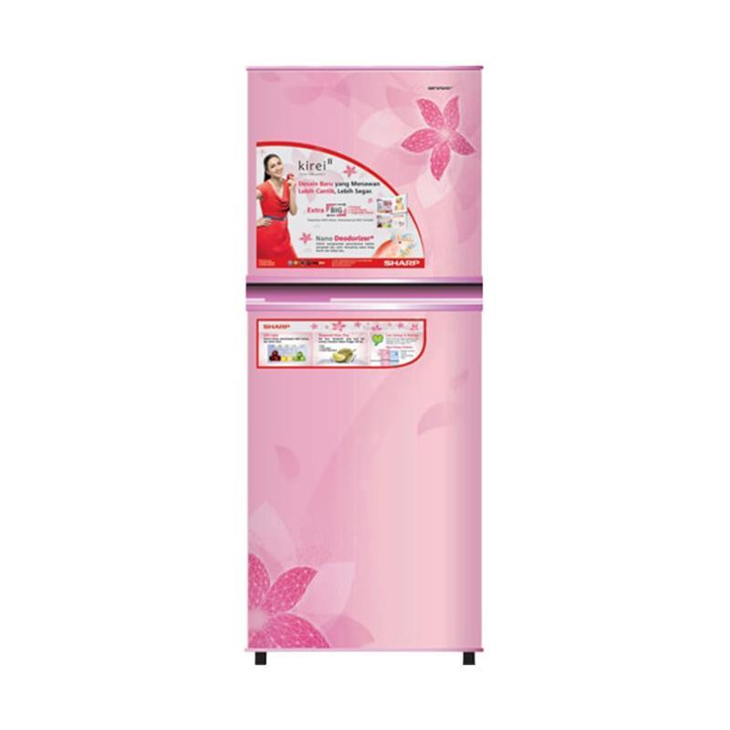 SHARP SJ-236ND-FP Kirei II Refrigerator Kulkas - Flower Pink [2 Pintu/187 L] [hanya JADETABEK]