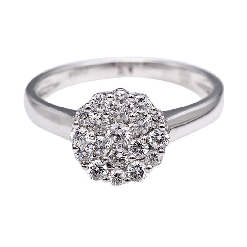Tiaria DHTXHJZ001 Perhiasan Cincin Emas Putih dan Berlian White Gold [18K]